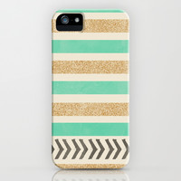 MINT AND GOLD STRIPES AND ARROWS iPhone & iPod Case by Allyson Johnson