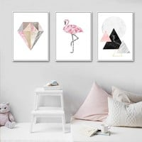 Marble Geometry Flamingo Abstract Posters and Prints Wall Art Canvas Painting Nordic Decoration Picture Modern Home Decor