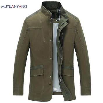 New Arrival Casual Men's Trench Coat Standing Collar Male Coat Zipper Button Windbreakers For Man