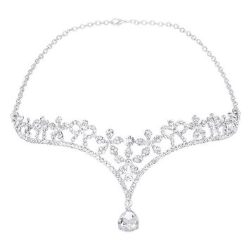 Wedding Women's Crystal Bridal Flower Decor Crown Headband Tiara Headdress
