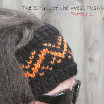 Rayen Ear Warmer - Knitting Pattern, headband, headwrap, earwarmer, warmer, teen, adult, stranded, womans accessories, ear-muff, wrap turban