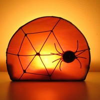 Halloween Candle Holder Stained Glass Black Spider Orange Moon