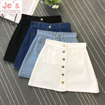 2018 Summer Womens Ladies A-line Jeans Skirt Button High Waist Denim Small Pockets Skirt Harajuku Mini High Quality Apron