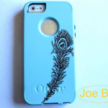 Otterbox iPhone 5/5S case, case cover iphone 5/5S otterbox ,iPhone 5 otterbox commuter, Pink Peacock feather commuter series