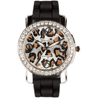 Cheetah Rhinestone Watch Black/Silver One Size For Women 18211414501
