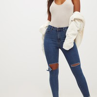 Dark Wash Open Knee Rip Skinny Jean