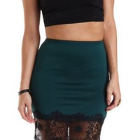 Lace-Trim Bodycon Pencil Skirt by Charlotte Russe - Green Combo