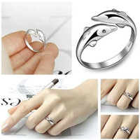 Cute Double Dolphin 925 Sterling Silver Ring Jewelry Opening Adjustable Couple Ring