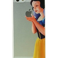 Disney Princess Eating/ Holding Apple logo Sleeping Beauty Aurora Cinderella Tangled Rapunzel Alice in Wonderland Aladdin Jasmine Snow White Frozen Elsa The Little Mermaid Ariel Holding Logo Clear Hard skin Case For Apple iPhone 5 5S (Jasmine 5/5S)