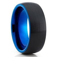 Blue Tungsten Wedding Band - Black Ring - Blue Tungsten Ring - Dome Ring