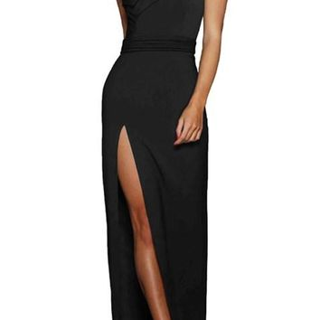 Black Asymmetric One Shoulder Floor Length Party Slit Dress