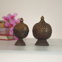 Brass Incense Burner / Lantern, Vintage Indian Lamp / Candle Holder Lantern, Hand Made Pierced Metal India Home Decor, Boho Style Home Decor