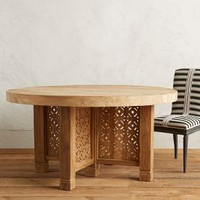 Handcarved Fretwork Dining Table, Round by Anthropologie in Natural Size: One Size House & Home