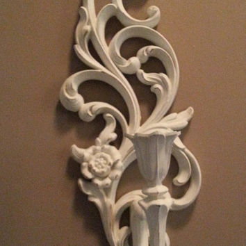 Vintage Shabby Chic Syroco Candle/Wall Sconce