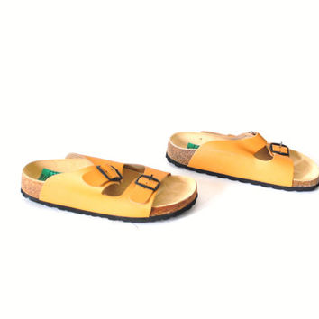 size 7 MUSTARD yellow sandals vintage 80s 90s BIRKENSTOCK style MINIMALIST boho strappy leather sandals