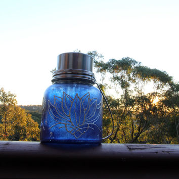 Eco friendly solar powered jar lamp - lapis lazuli blue with pearl lotus design - Limited edition