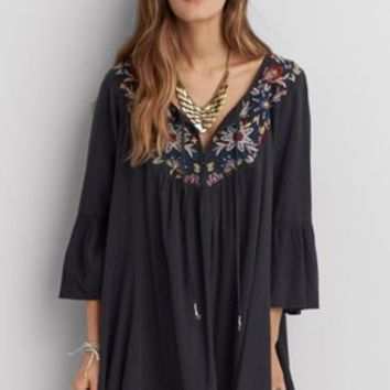 AEO Embroidered Bell Sleeve Dress, Dusty Olive | American Eagle Outfitters