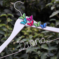 Butterfly Hanger Handmade flower Custom Name Hanger Personalized Wedding Hanger Bridal Hanger Bride Hanger Wire