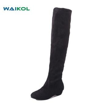Waikol Women Boots Winter Autumn Fashion Flat Bottom Boots Shoes Over The Knee Suede Long Boots Overknee Women's Casual Shoes