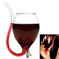 300ml Vampire Devil Red Wine Glass Cup Mug With Built in Drinking Tube Straw BDA