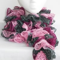 Free Shipping in U.S.A - Ballet - Crochet Ruffle Scarf - Sashay Ruffle Scarf - Fluffy Scarf - Ruffle Scarf - Crochet Sashay Scarf - Frilly