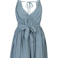Steel Blue Plunge Neck with Open Back and Waist Tie Ruched Cami Dress