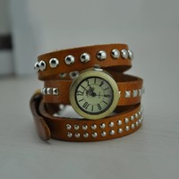 MagicPiece Handmade Vintage Style Leather Watch For Women Wrap Belt Watch in 4 Colors: Yellow