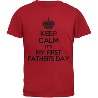 Father's Day Keep Calm First Father's Day Red Adult T-Shirt