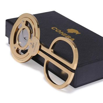 COHIBA Gadgets Stainless Steel Triple Blade Cuban Cigars Scissors Sharp Staright Cut Cigar Cutter Golden with pouch and gift box