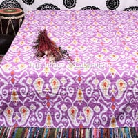 Ikat Kantha Quilt, Queen Quilt, Kantha Blanket, Queen Bed Cover, Queen Blanket, Indian Bedspread, Queen Kantha bedspread, Bohemian Bedding