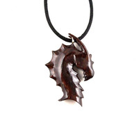 Dragon Pendant, Dragon Necklace, Mens Necklace, Dragon Jewelry, Wood Dragon Necklace, Dragon Head Pendant, Dragon Head Necklace, Men Jewelry