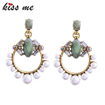 KISS ME New Statement Earrings 2017 Christmas Hot Sale Geometric Simulated Pearls Jewelry Big Earrings