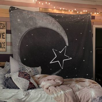 Reiki Charged Gothic Moon and Star Black and White Wall Hanging For Meditation
