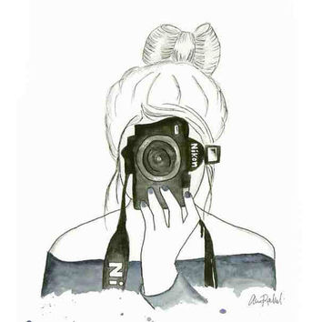Snapshot - Print from original watercolor and pen fashion illustration by Lexi Rajkowski