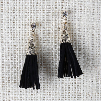 Conical Filigree Suede Tassel Earrings