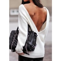 LOLA SWEATER - Long Sleeves, White Open Back Sweater