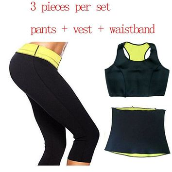 ( Pants+vest +waistband ) Super Stretch Neoprene Shapers Sports Clothing Set Women's Slimming Waist Training Corsets Hot Shapers