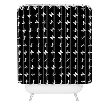 Wesley Bird Cross Out Black Shower Curtain