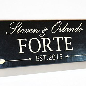 CHRISTMAS GIFT FAST SHIPPING Wedding Gift Last Name Establish / Personalized Family Sign Wood / Gay wedding Gift / Custom Anniversary Gift Plaque .sign#240