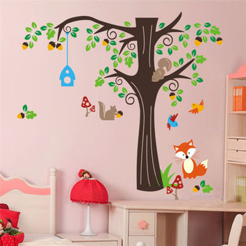 Forest Animals Birds Fox Squirrel Mushrooms Trees Wall Art Stickers Decal For Nursery Home Decor Baby Room