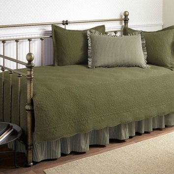 Twin Size 5 Piece Daybed Cover Set In Aloe Green 100% Cotton
