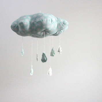 Ice Storm Cloud Mobile  minimalist fabric sculpture by BabyJivesCo