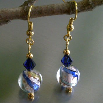 Blue and Gold Swirled Earrings