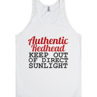 Authentic Redhead Keep Out of Direct Sunlight Tank Top