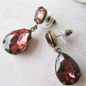 Merlot Drop Earrings, Vintage Style Jewellery, Burgundy Wedding Bridal, Old Hollywood Glam, Christmas Earrings, New Years Eve