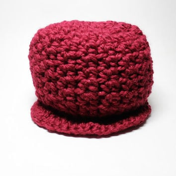 Chunky Newsboy Hat, Scarlet Red Crochet Beanie, Wool Cap With Brim, Women's Winter Accessory