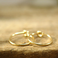Hoop Earrings Solid 14k Gold Plain