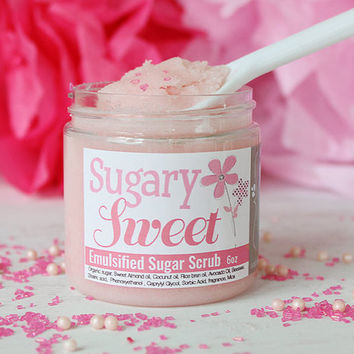 Emulsified Sugar Scrub - Pink Sugar - Sugar Body Scrub - Cotton Candy Sugar Scrubs - Pink Shower Scrub - Stocking Stuffers for Women