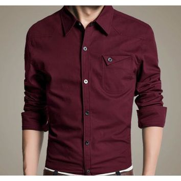 Mens Flip Pocket Button Front Long Sleeve Shirt in Red