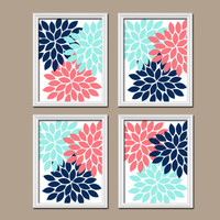 Coral Navy Aqua Wall Art CANVAS or Prints Bathroom Wall Art Decor Flower Burst Petals Dahlia Bloom Dorm Room Set of 4 Bedroom Pictures